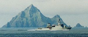 Irish Naval vessel sails past An Tiaracht